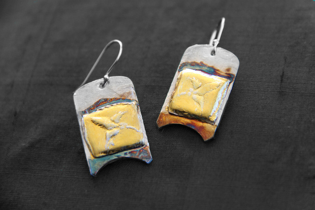 Hummingbird Earrings - Pure silver w/ 24k gold and patina - Dimensions 2 X 2.5 cm (SOLD)