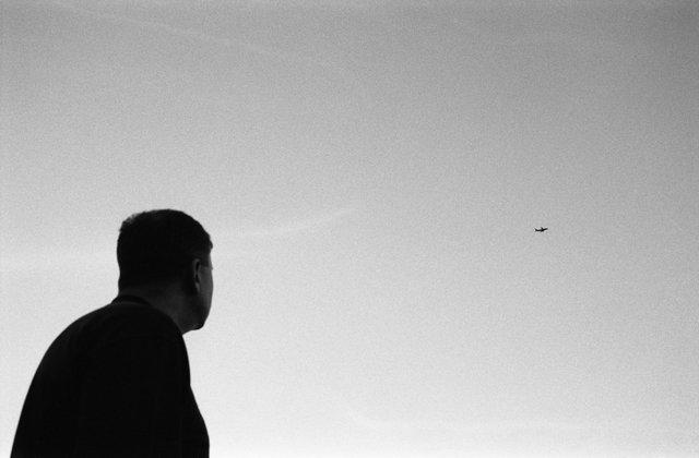 Departing plane.