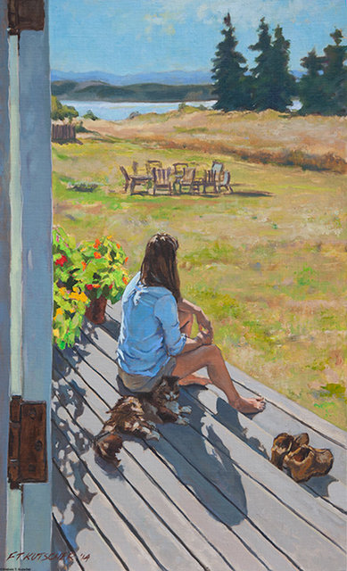 Back Home on Summer Weekend - Young Woman on Porch with Cat