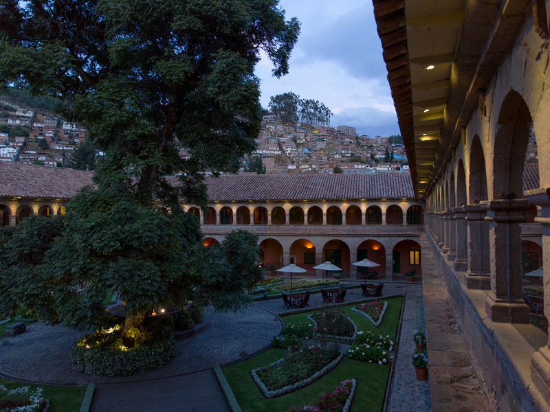 the courtyard hosts a 300-year-old cypress tree, one of the last remaining cypresses in cusco