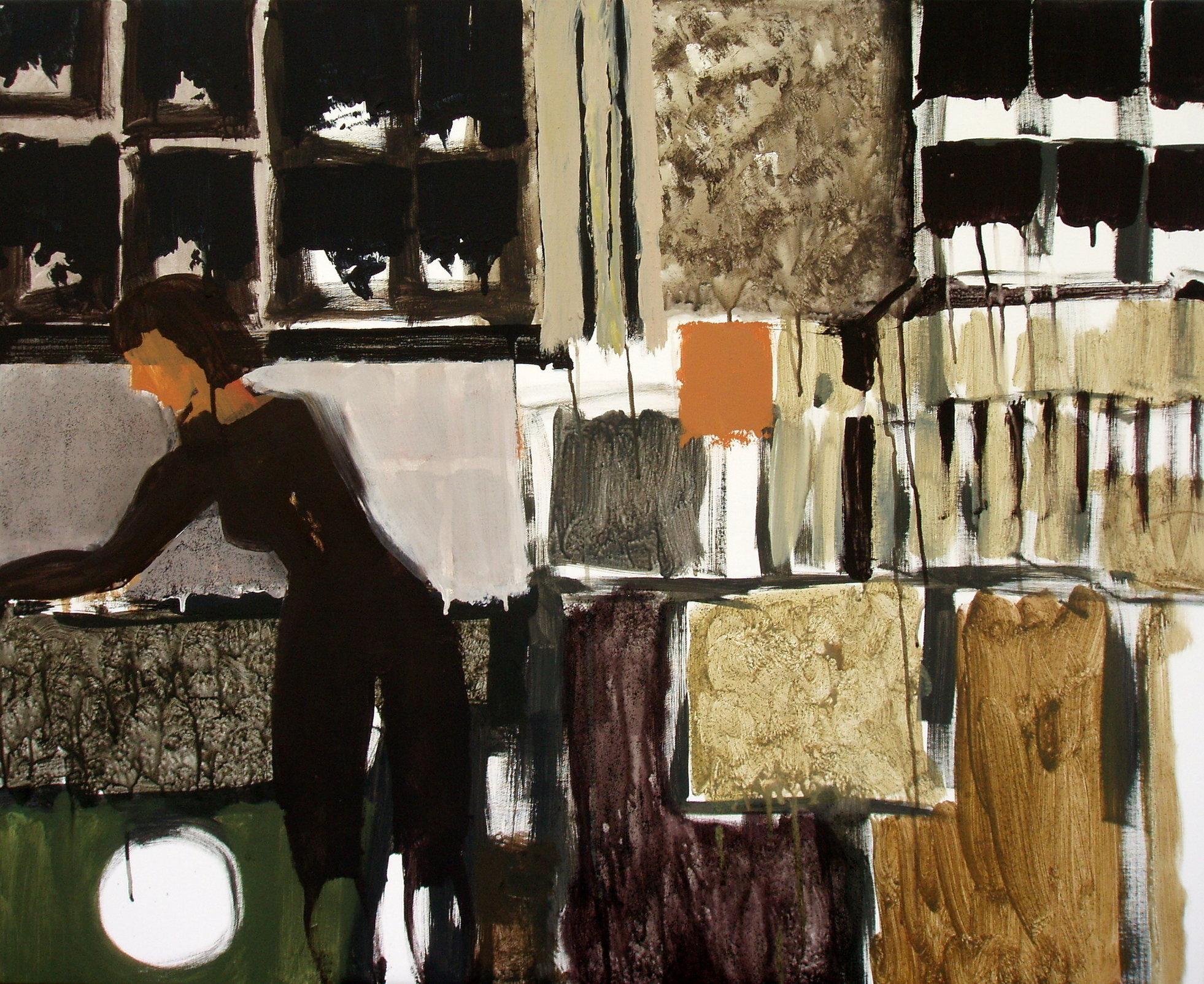 Kobieta w legginsach 90x110 akryl płótno (wł. pryw.)