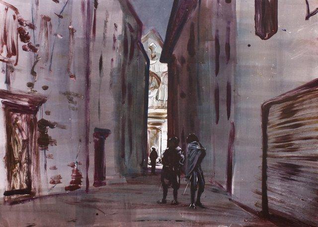 "Caravaggio, Longhi Call on Friend, 22x30"""