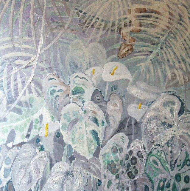 Biała dżungla 90x90 olej płótno 2016
