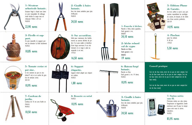 """<font color=""""#aaa7a6"""">Guide jardinier, prospection (outils).</font>"""