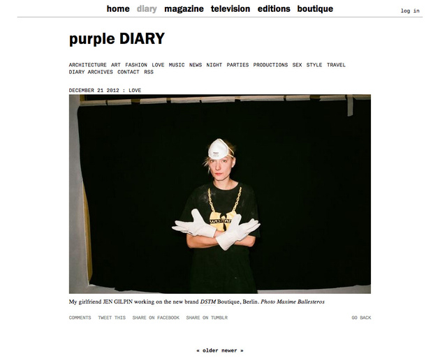 purple DIARY   My girlfriend nbsp Jen Gilpin working on the new brand nbsp DSTM Boutique  Berlin. nb