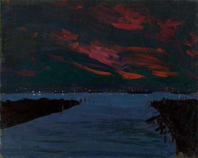 "Twilight, Sunset Park Docks    32 x 38"""