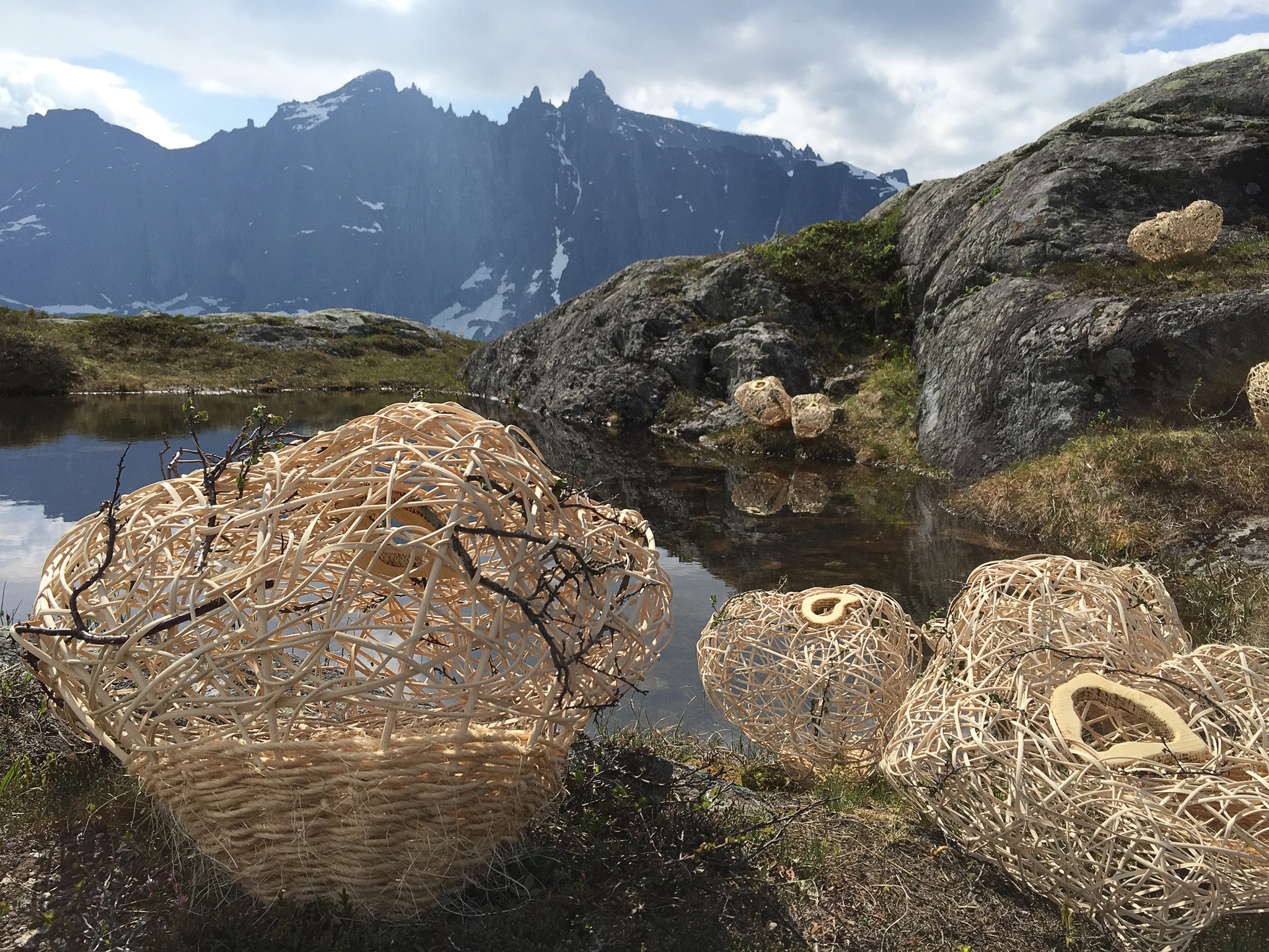 Installation woven of wood and rattan for 'Kunst i Natur* in Åndalsnes, Norway 2015