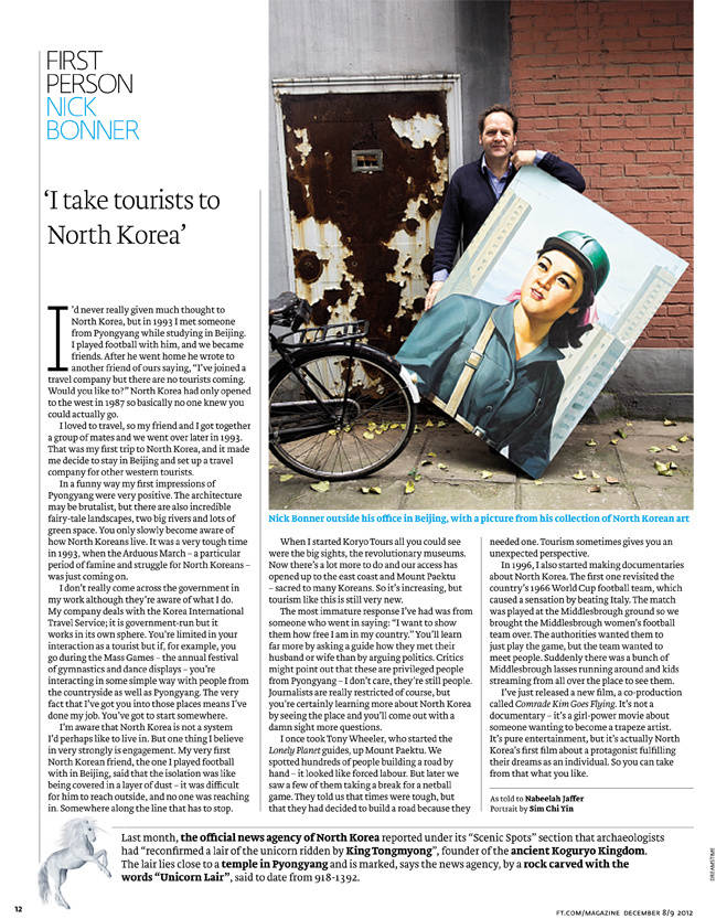 Portrait of Nick Bonner, founder Koryo Tours, for Financial Times Magazine, December 2012