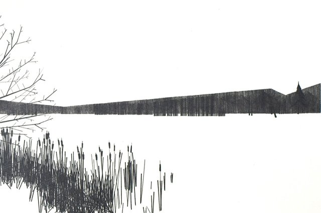 Lake 4, 2011, graphite on paper, 7 x 10""