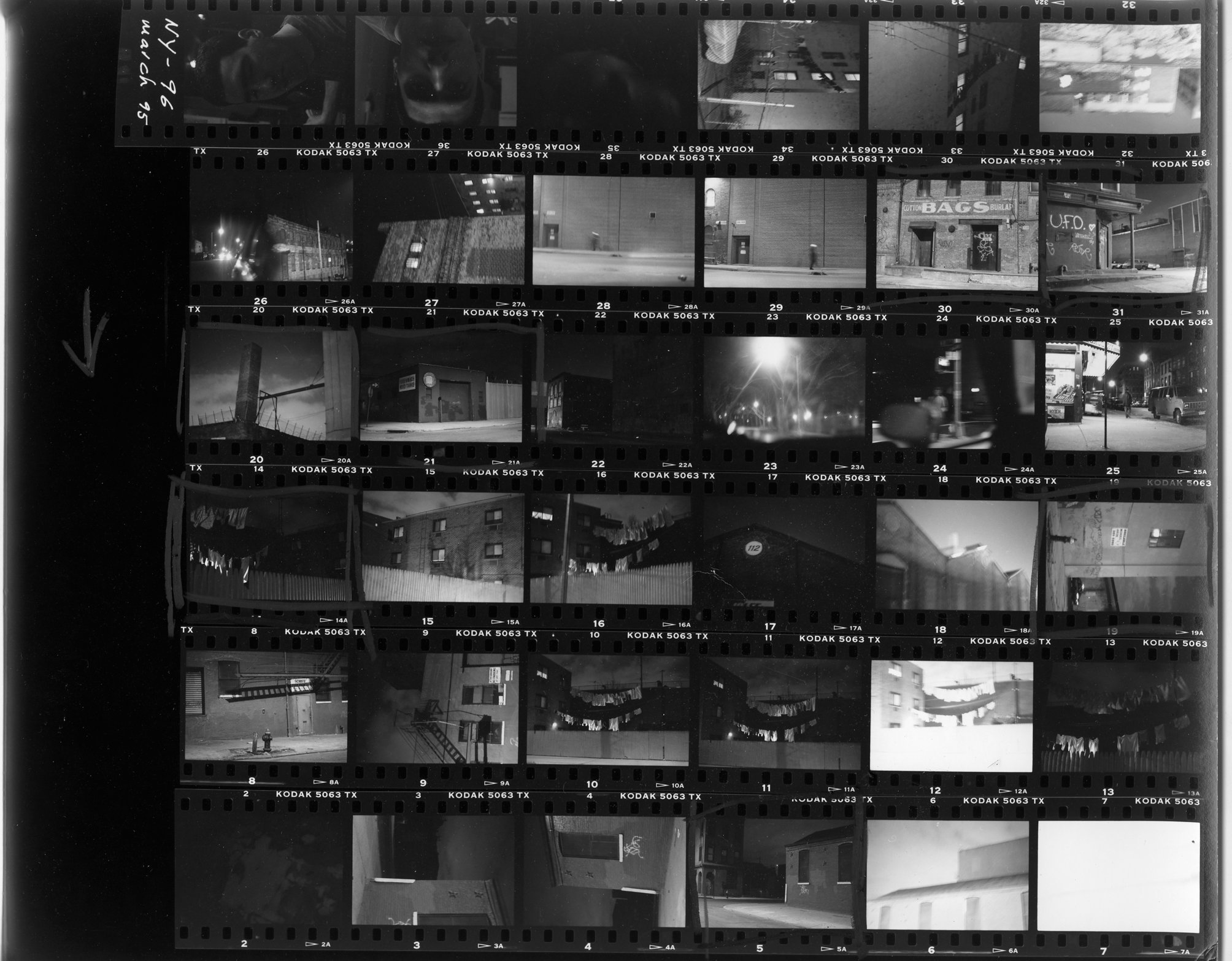 B/W contact sheet of images from Williamsburg