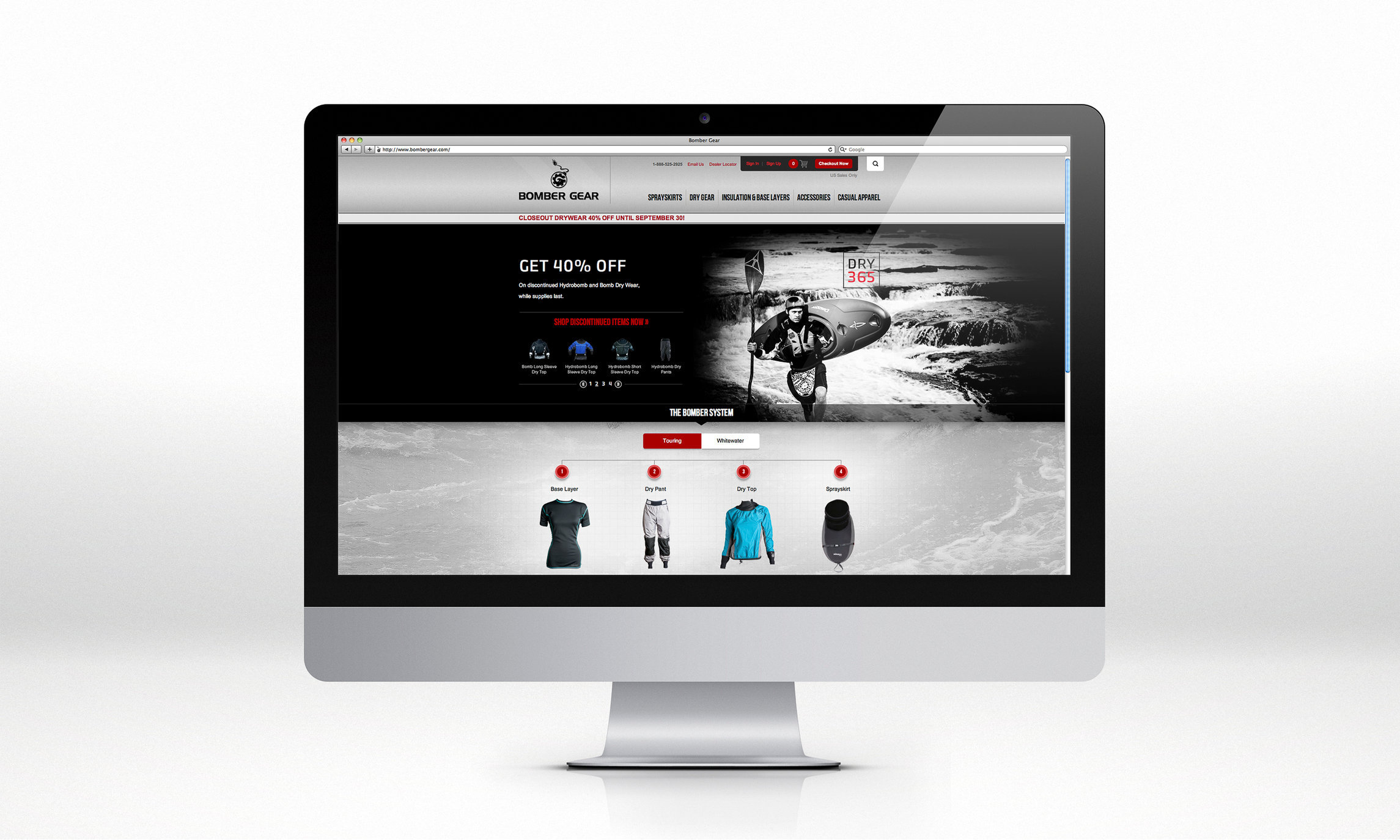 Bomber Gear's website splash pages and web marketing