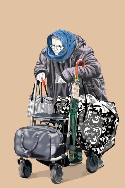 Señora con carrito