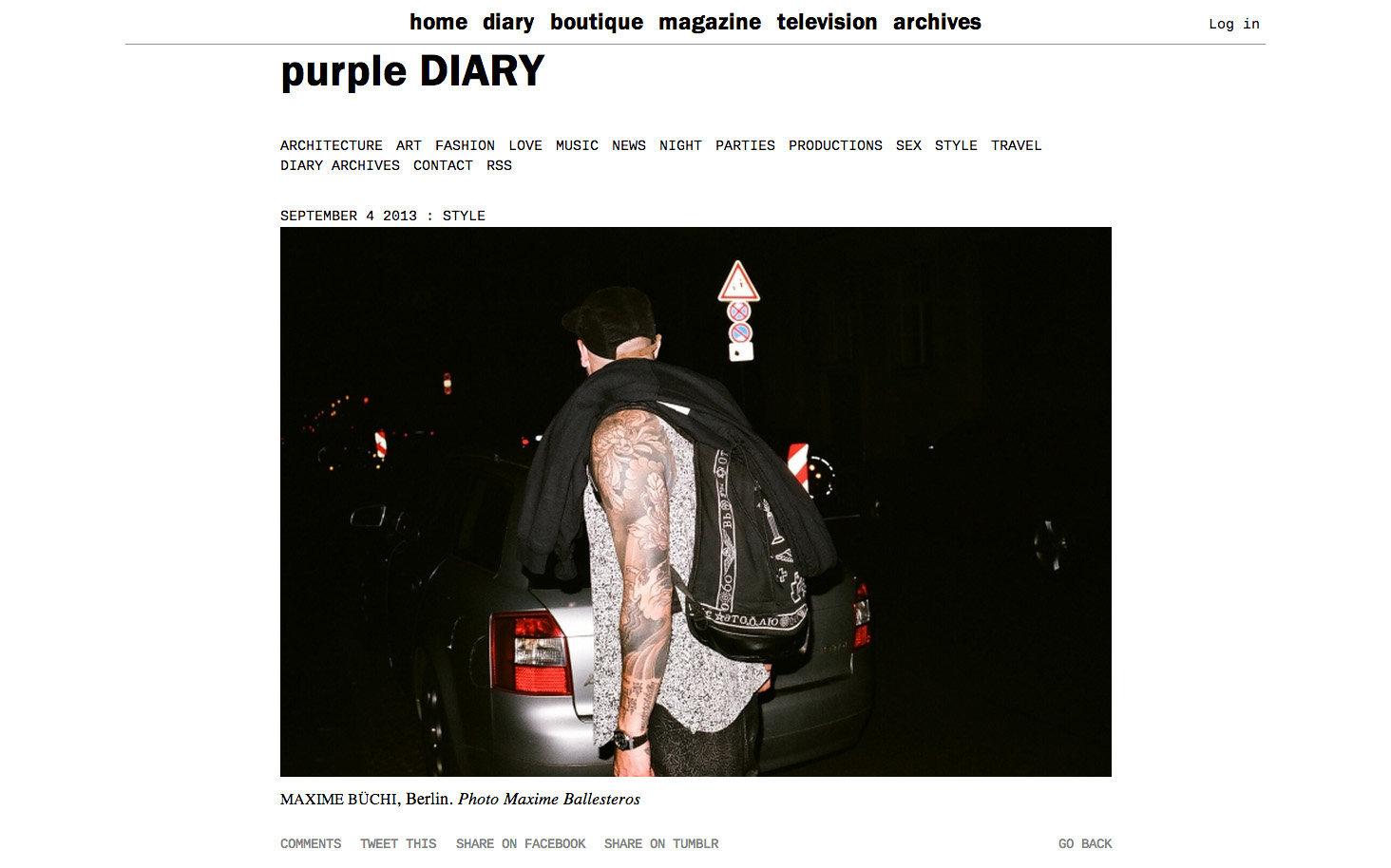 purple DIARY   Maxime B uuml chi  Berlin. Photo Maxime.jpg