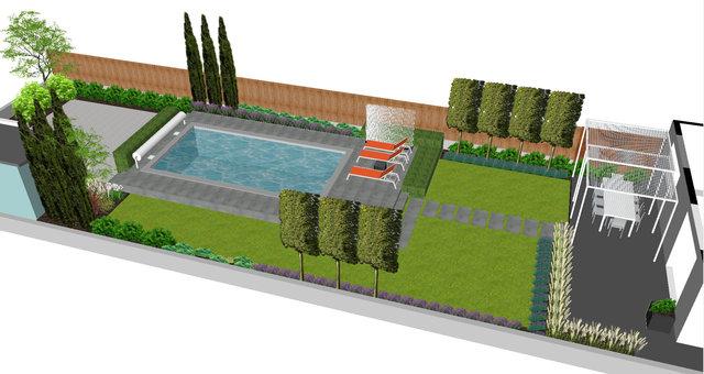Rénovation d'un jardin avec piscine.