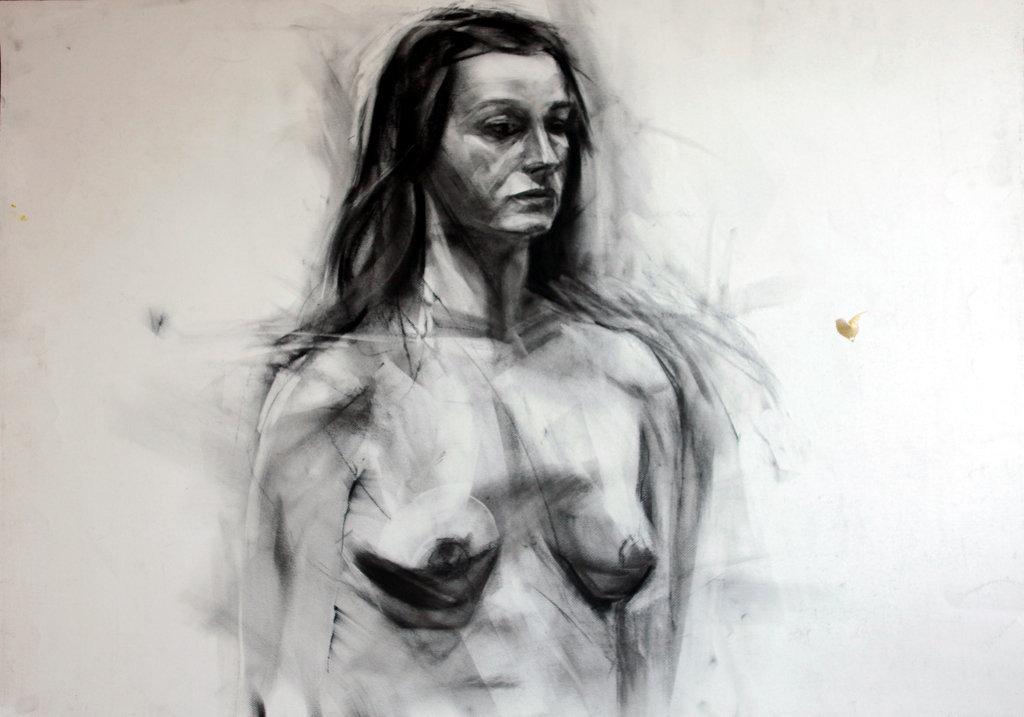 Popiersie kobiety, rys. węglem 100x70 2009