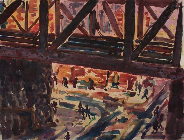 """Chinatown Overpass   22 x 29"""""""