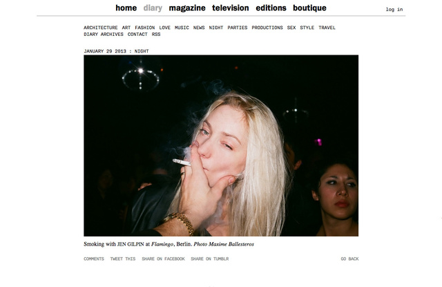 purple DIARY   Smoking with Jen Gilpin at Flamingo  Berlin. Photo Maxime.jpg