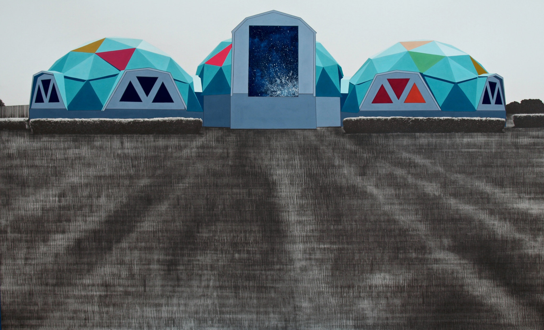 Waco Memorial, 2014, gouache and graphite on paper, 24 x 38""