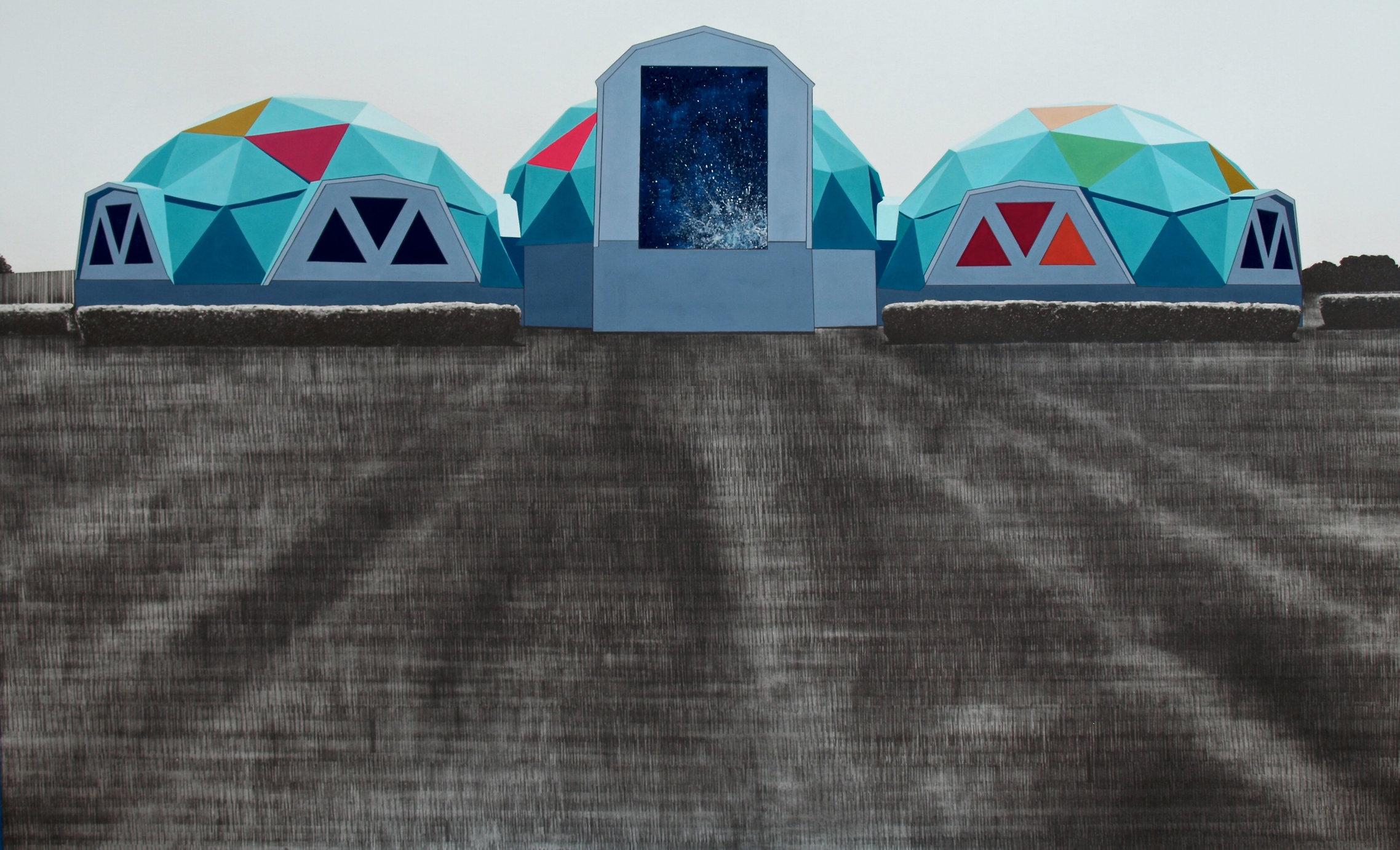 "Waco Memorial, 2014, gouache and graphite on paper, 24 x 38"""