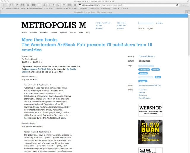 METROPOLIS M, 2011