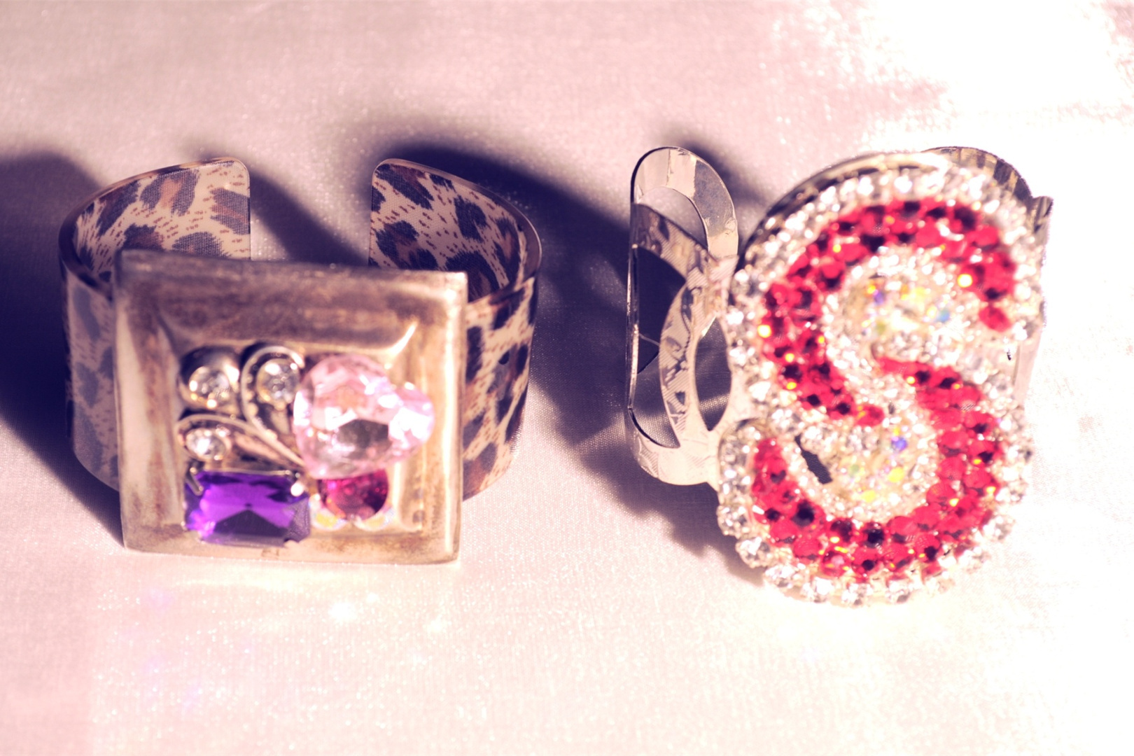 CUFFS- animal print, antique, gold, clear stones, silver, red clear stones
