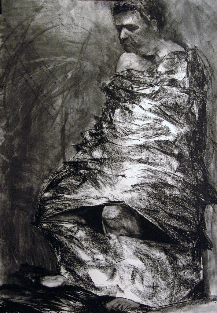 Iron men, rys węglem 70x100 2010