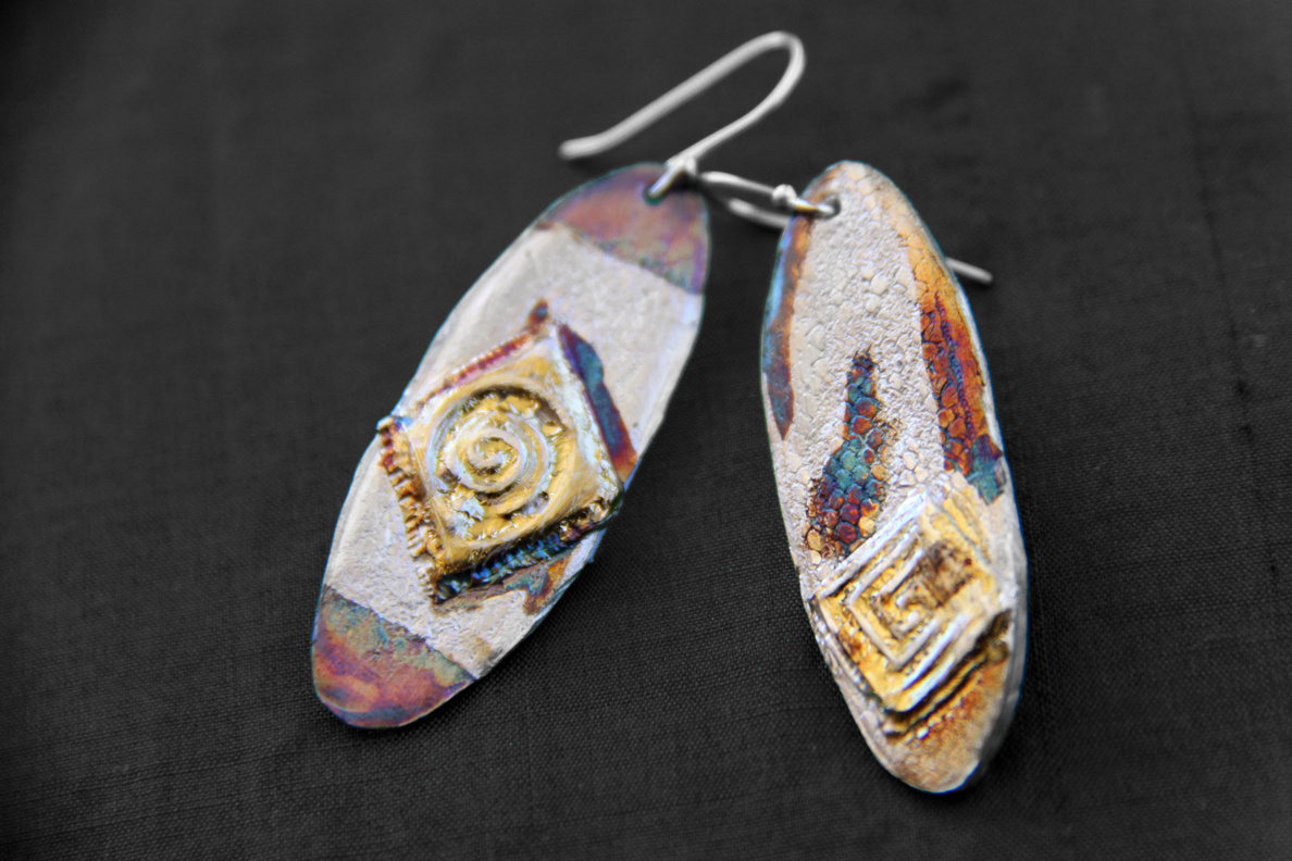 Silver Symbol Earrings - Pure silver w/ 24k gold and patina - Dimensions 3.5 X 1.5 cm