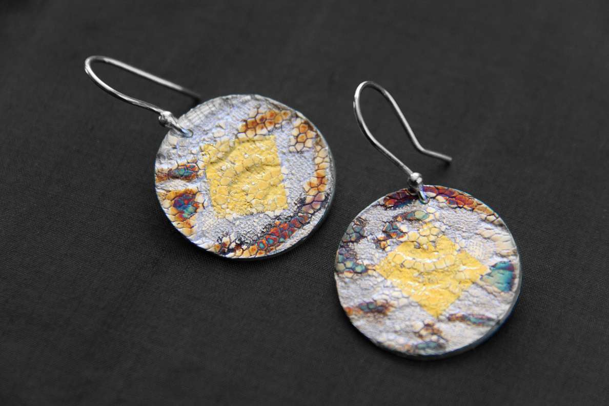 Gold Lace Earrings - Silver w/ 24k gold leaf and patina - 2.5 cm diameter. (SOLD)