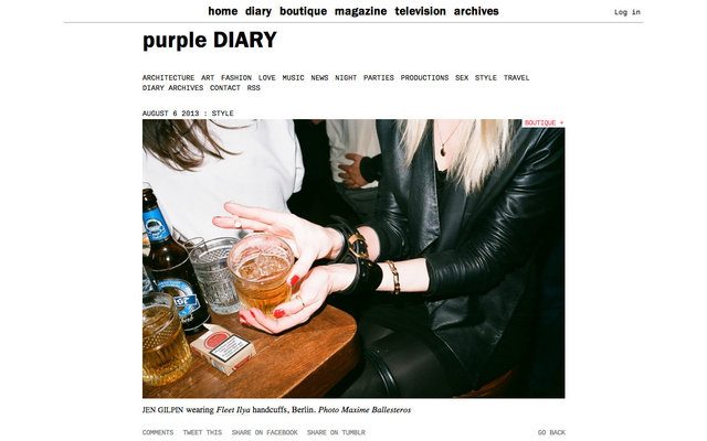 purple DIARY   Jen Gilpin wearing Fleet Ilya handcuffs  Berlin. Photo Maxime.jpg