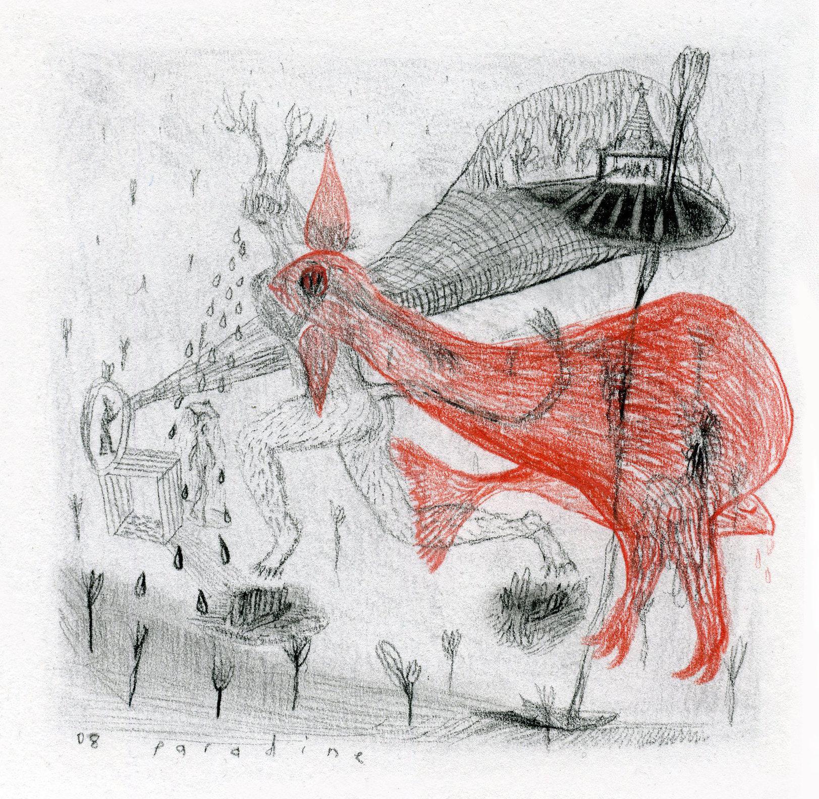 14. 'Untitled' Conte, & coloured pastel pencil on paper 15x15cm 2008