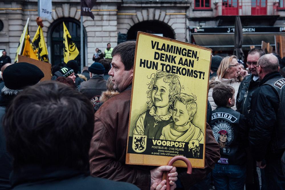 Pegida/Voorpost/Vlaams belang demonstration.
