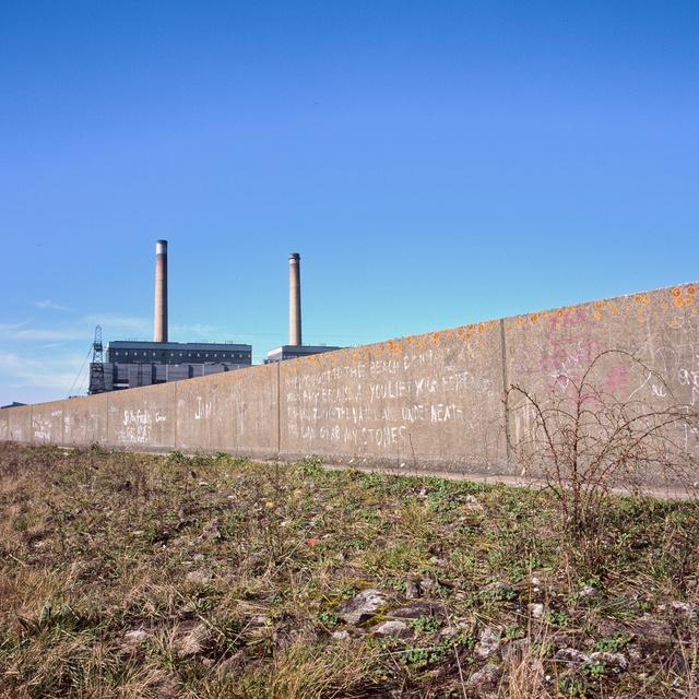 Sea wall at Tilbury Power Station