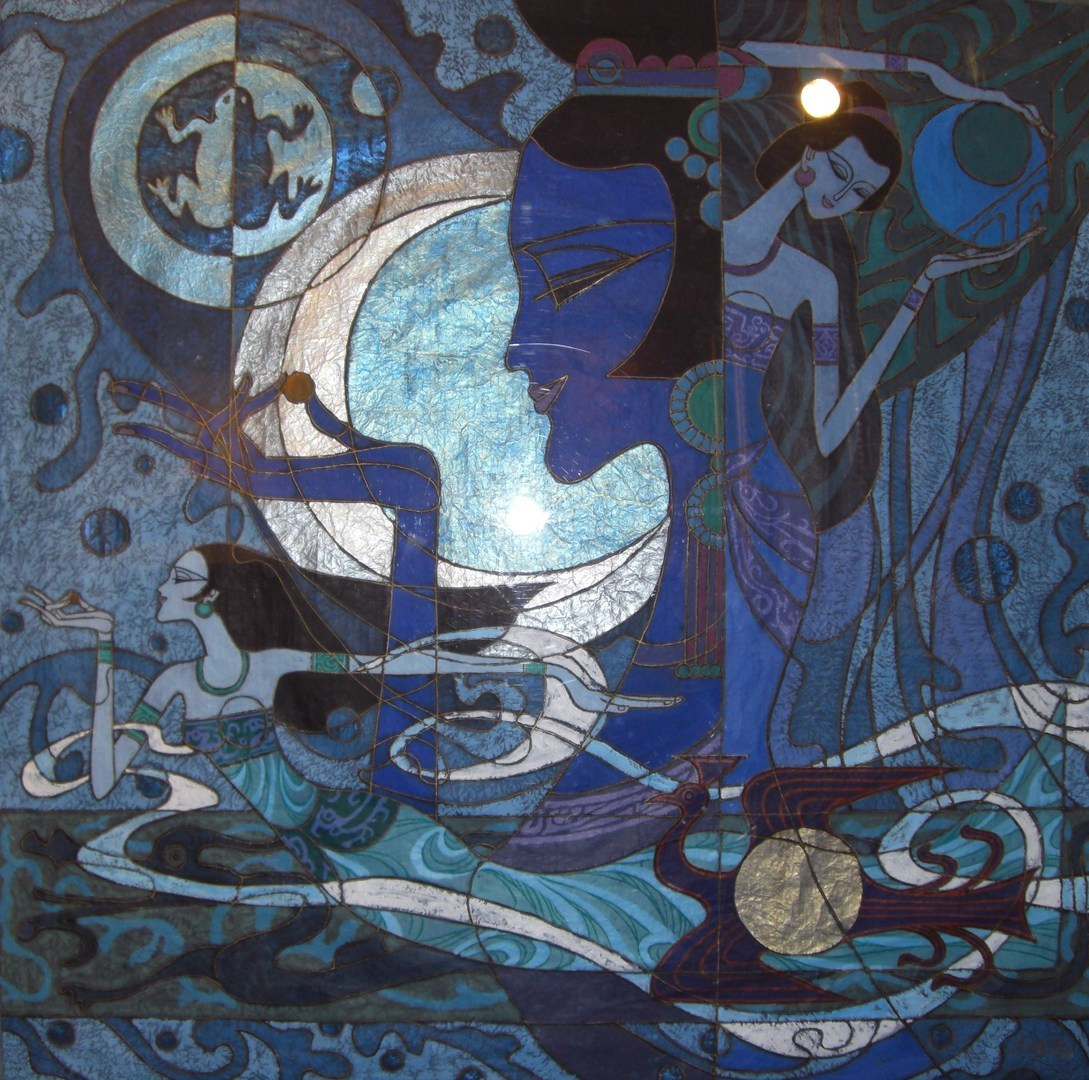 """Rush to the Moon, 38"""" x 38"""""""