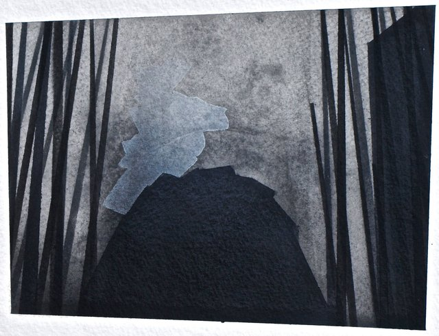 """Not Too Distant Future 9, 2014, graphite and gouache on paper, ~5.5 x 7"""""""