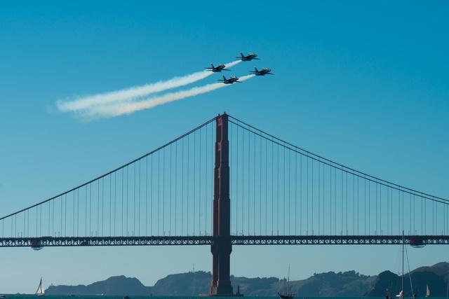 Blue Angels over Golden Gate Bridge
