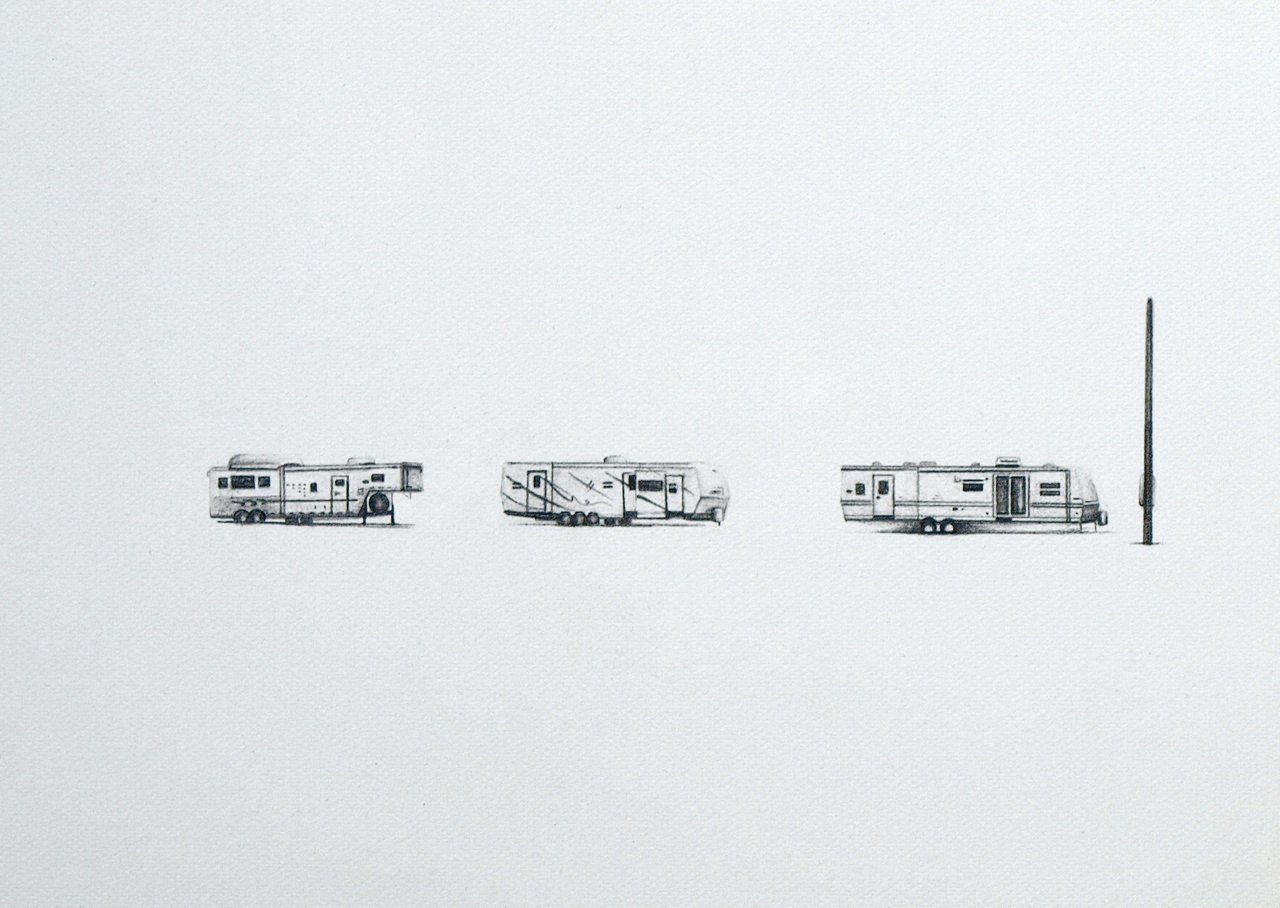 East on I10, 2010, graphite on paper, 5 x 7""