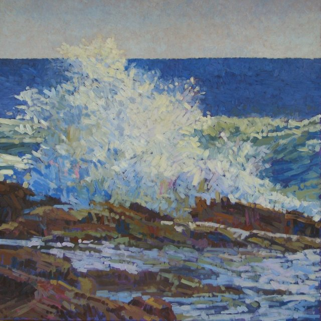 Morning Wave Near East Point, 2013, Acrylic on Canvas, 48 x 48 in.