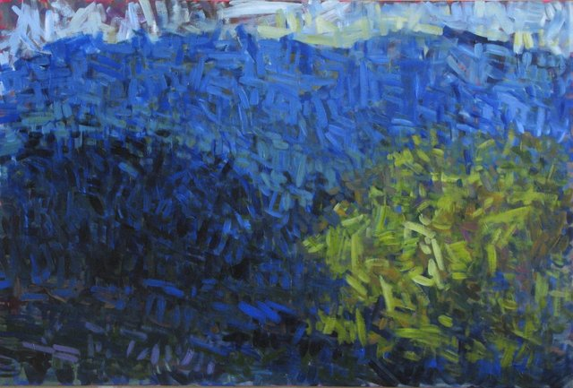 Trees, Mountain Sky, 2015, Acrylic on Canvas,  36 x 54 in. (NLA)