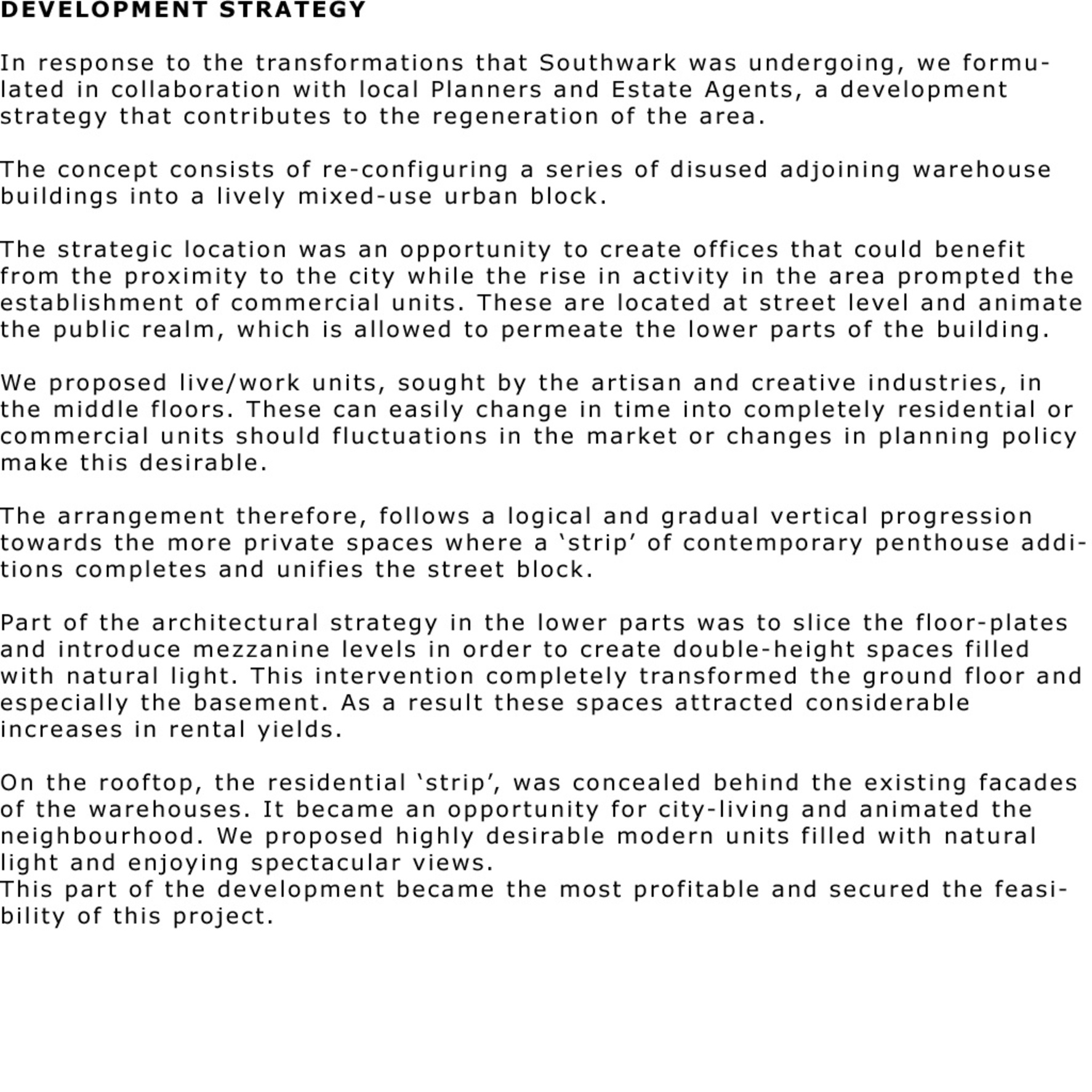 DEVELOPMENT STRATEGY - SOUTHWARK