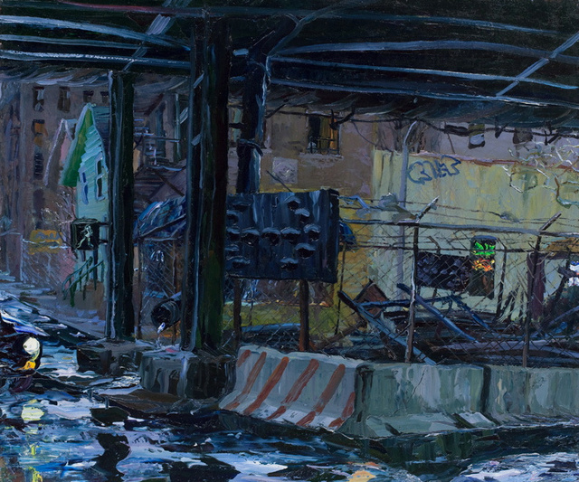 "Under the Expressway- Rain, 30 X 36"" sold"