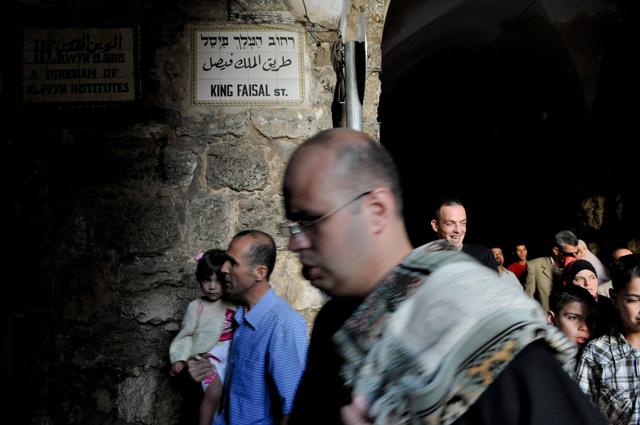 Vieille ville de Jérusalem, sur le chemin de la Mosquée Al Aqsa pour la dernière priére du ramadan