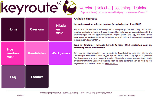 Webdesign for Keyroute