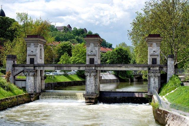 Sluices in Ljubljanica river, Ljubljana