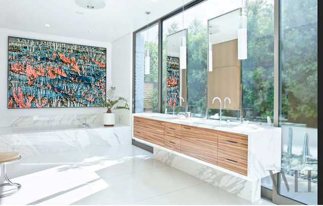 "Zion print 50x70""/ master bath LA residence"