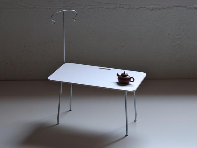 muji desk with teapot.