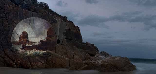 Apparitions #3, Projection - Pulpit Rock, Cape Schanck, Victoria, 1860s, Nicholas Chevalier