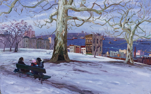 "Sunset Park- Winter, 28 x 40"" sold"