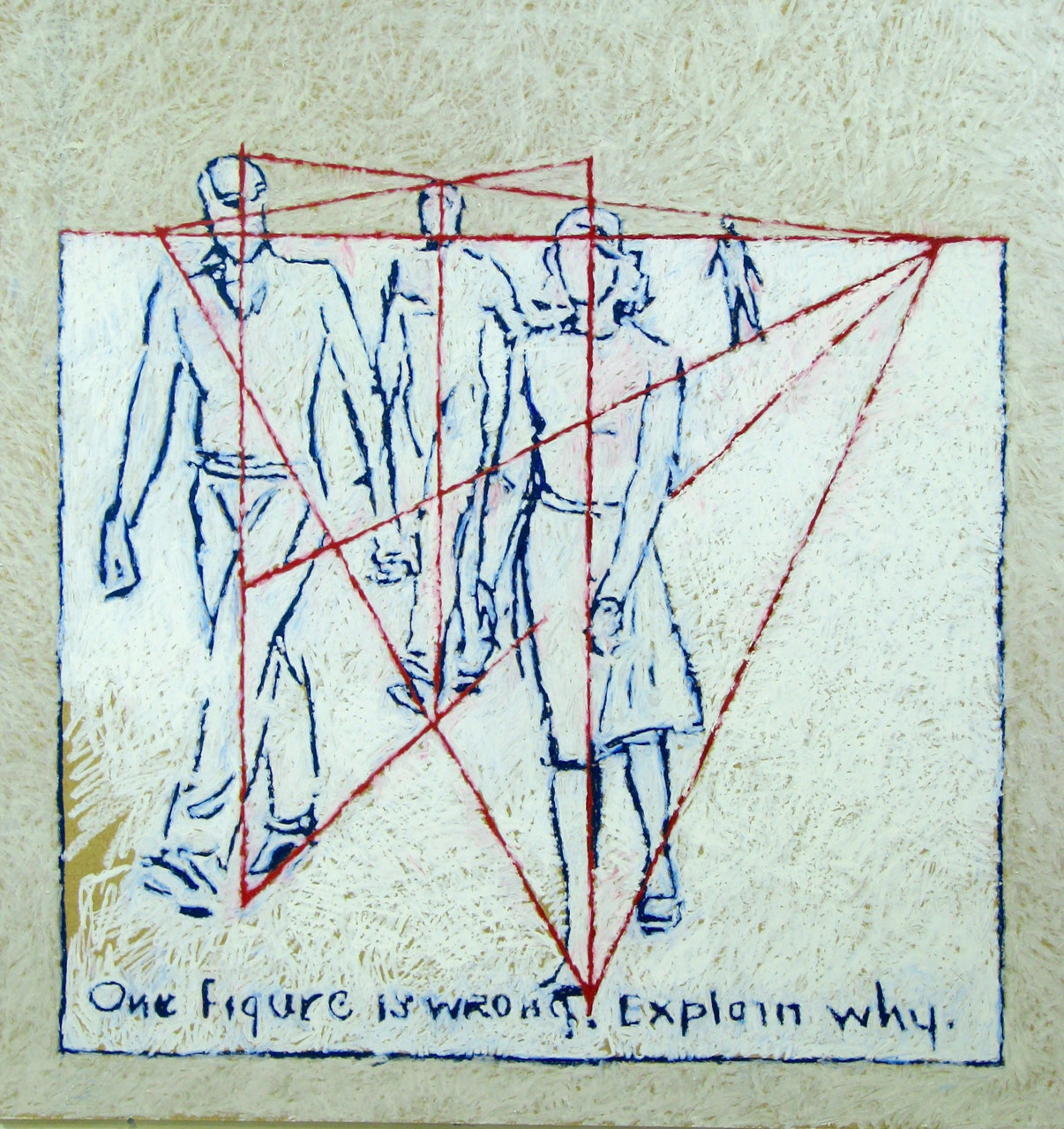 Explain Why, 2015, Oil pastel on Masonite panel, 50 x 48 in.