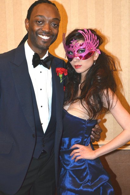 Master of Ceremonies and a model at the ELOPE TO PARIS fashion show.