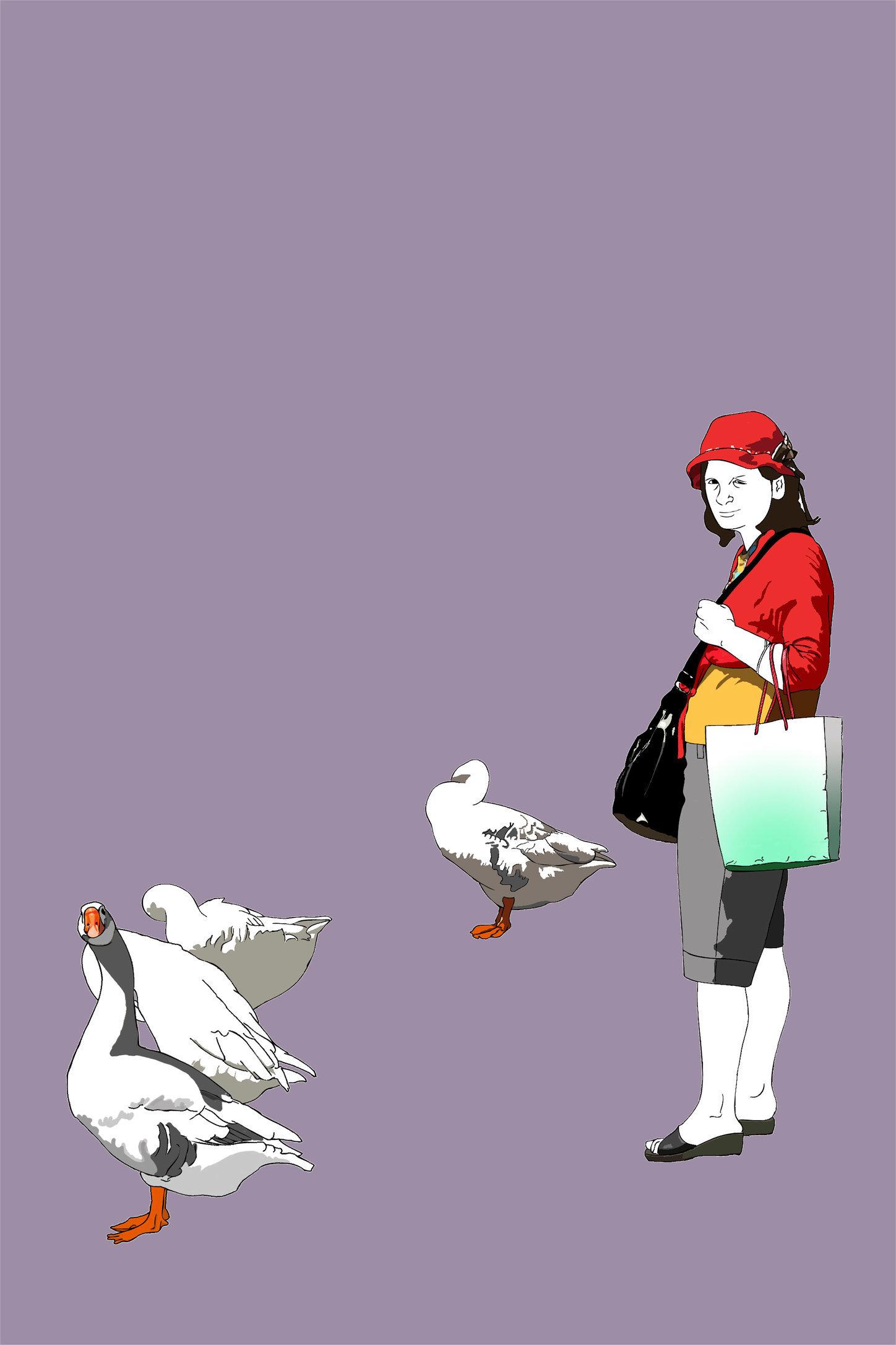 Mujer con Ocas